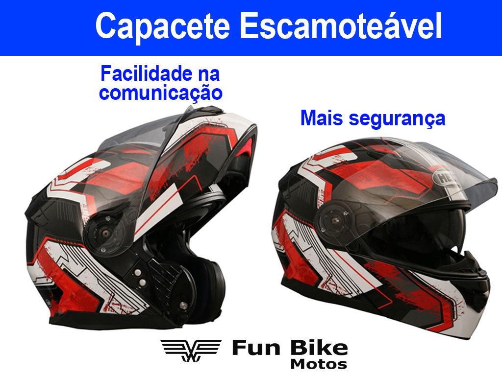 A imagem mostra um capacete escamoteável aberto e fechado.