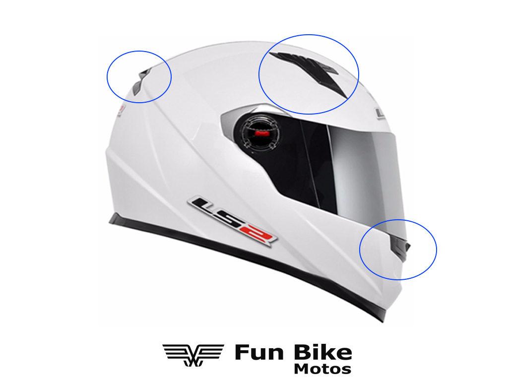 A imagem mostra um capacete com saídas de ar estratégicas para maior circulação.