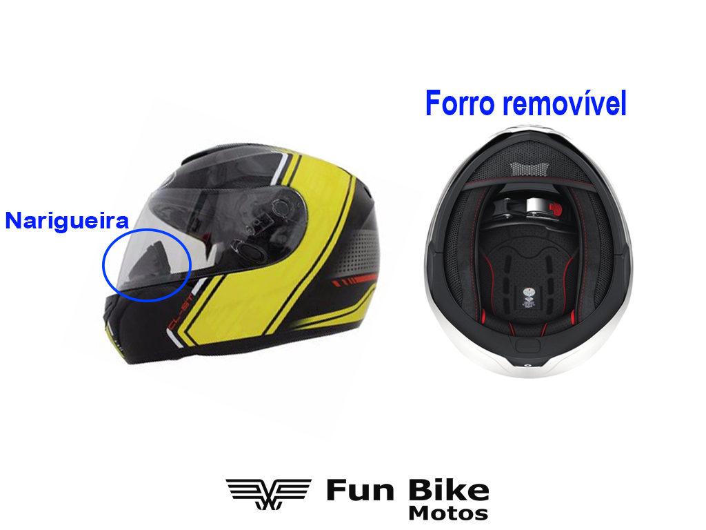 A imagem mostra um capacete com narigueira e forro removível.