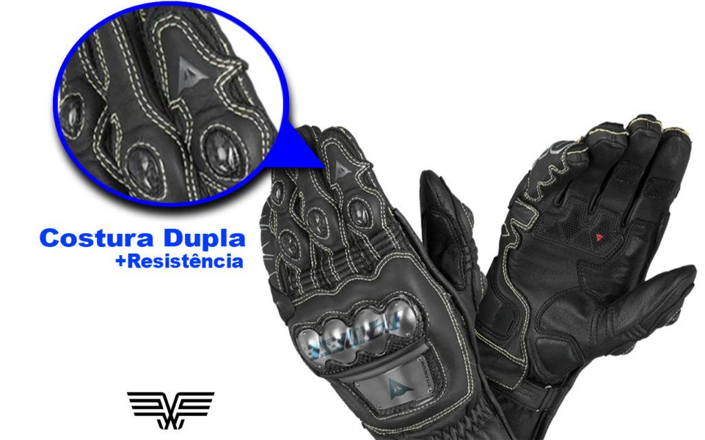 Luvas de couro com costura dupla oferecem maior proteção.