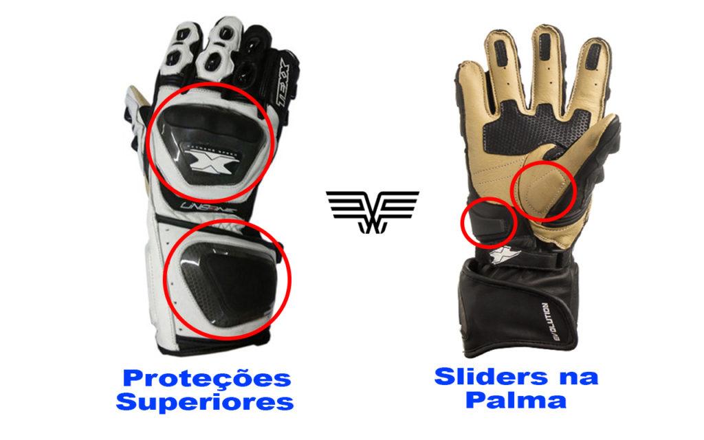 A imagem mostra luvas de couro com protetores superiores e sliders na palma da mão.