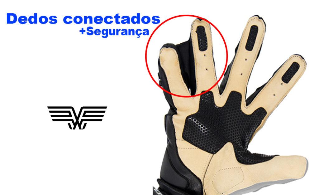 Luva que conecta o dedo mindinho ao anelar protege mair o dedo menor em acidentes.