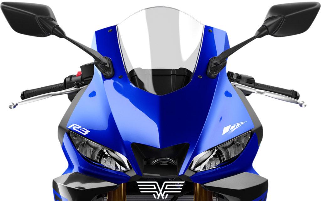 Foto da nova moto R3 na cor azul de frente.